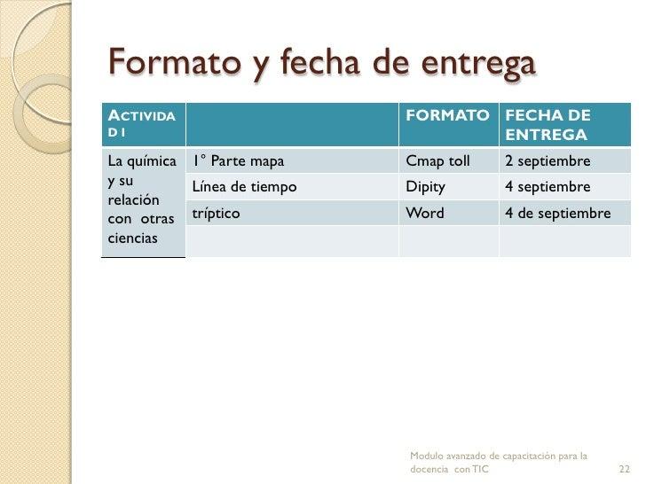 Formato y fecha de entregaACTIVIDA                     FORMATO FECHA DEDI                                   ENTREGALa quím...
