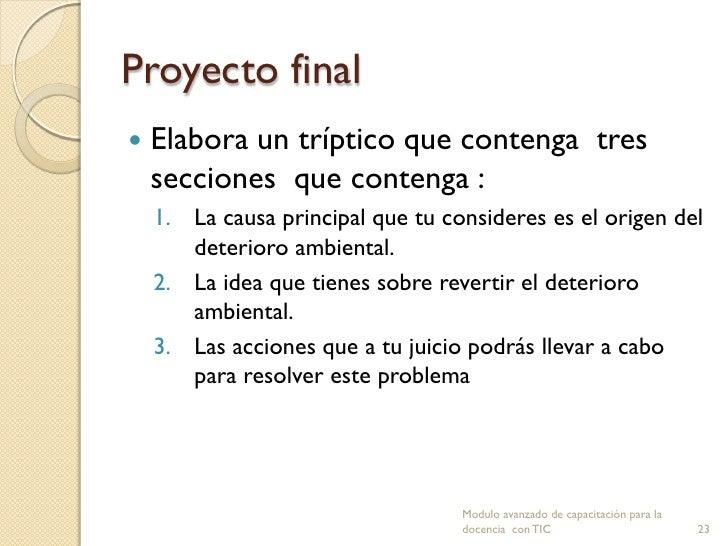 Proyecto final   Elabora un tríptico que contenga tres    secciones que contenga :    1. La causa principal que tu consid...