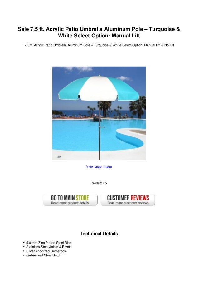 Acrylic Patio Umbrella Aluminum Pole U2013 Turquoise U0026White Select Option:  Manual ...