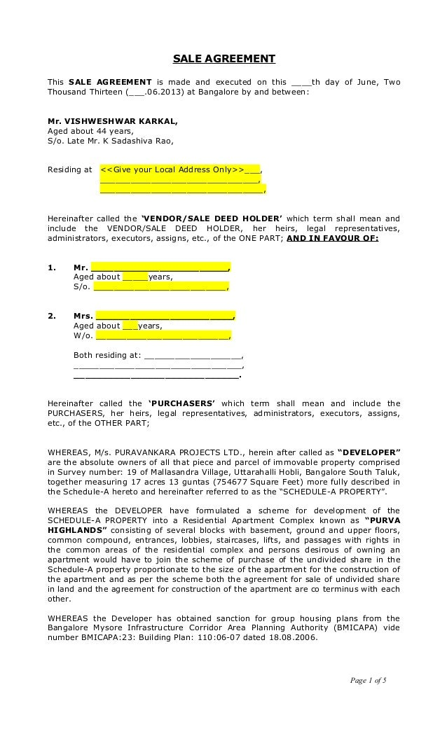 Sale Agreement Draft Vishweshwar Karkal G 1001[1]