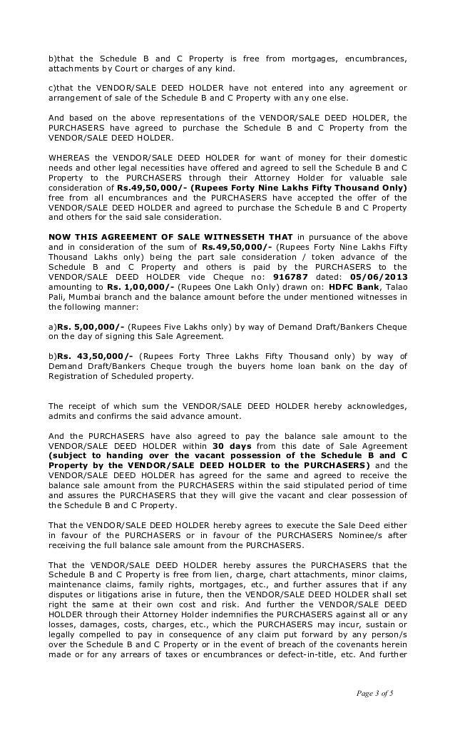 sale agreement draft vishweshwar karkal g 1001 1