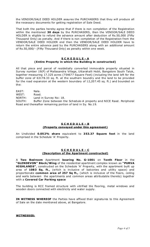 Sale agreement draft vishweshwar karkal g 10011 and furtherpage 3 of 5 4 platinumwayz