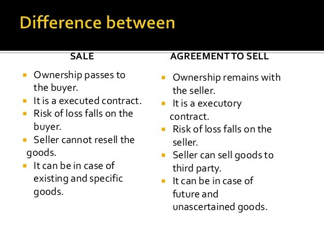 difference between sale and agreement to sell ppt