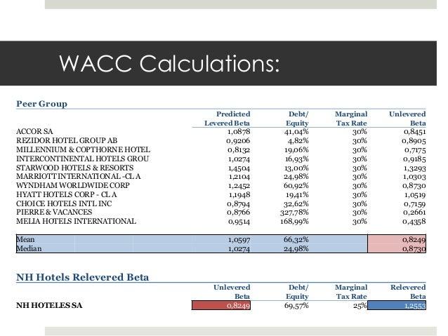what is wacc for marriott corporation tax rate 34 Marriott international wacc % description, competitive comparison data,   wacc, = e / (e + d), , cost of equity, +, d / (e + d), , cost of debt, , (1 - tax  rate.