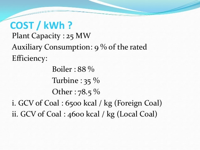 Boilers Classifications and Cost per kWh