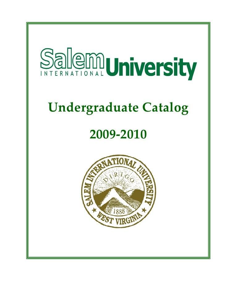 Undergraduate Catalog        2009-2010