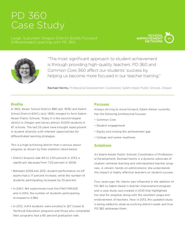 """PD 360 Case Study Large, Suburban Oregon District Builds Focused Differentiated Learning with PD 360  """"The most significan..."""