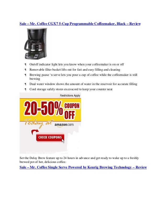Sale – Mr. Coffee CGX7 5-Cup Programmable Coffeemaker, Black – Review      On/off indicator light lets you know when your...