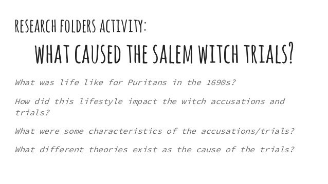 research papers on the salem witch trials More witchcraft, crucible essay topics salem village had a very colorful history before the famous witch trials it was not exactly known as a bastion of.