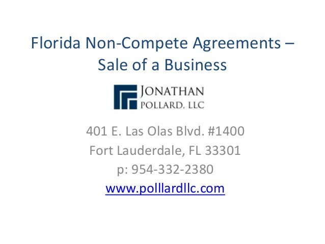 Florida Non Compete Agreements Sale Of A Business