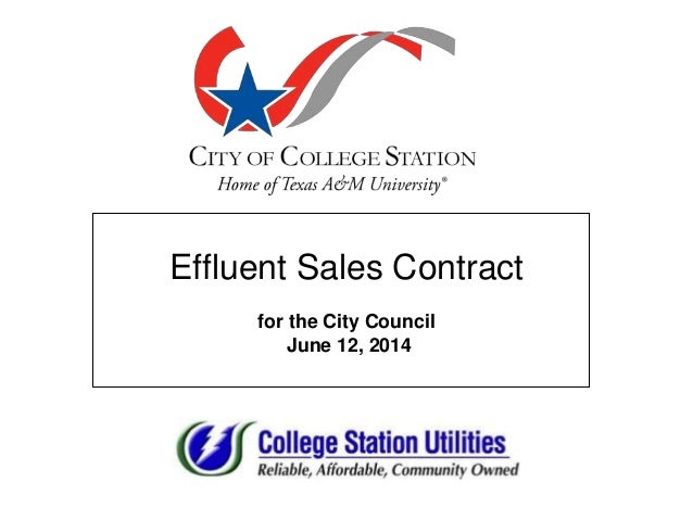 Effluent Sales Contract for the City Council June 12, 2014
