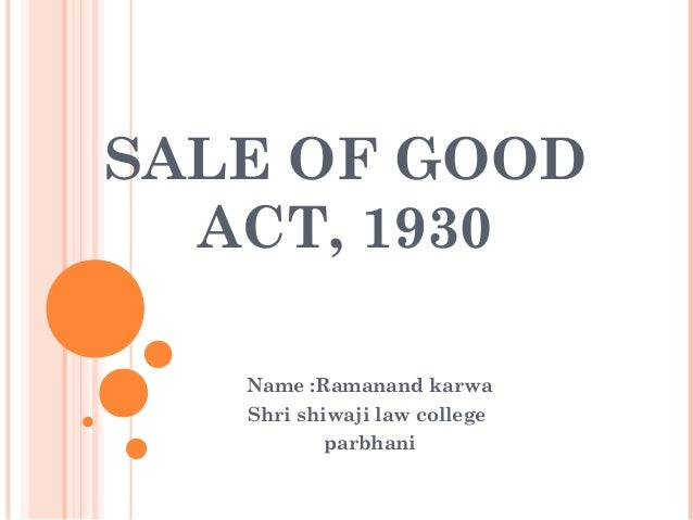 Sale of good act1930