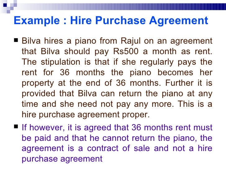 Sale of goods act example hire purchase agreement platinumwayz