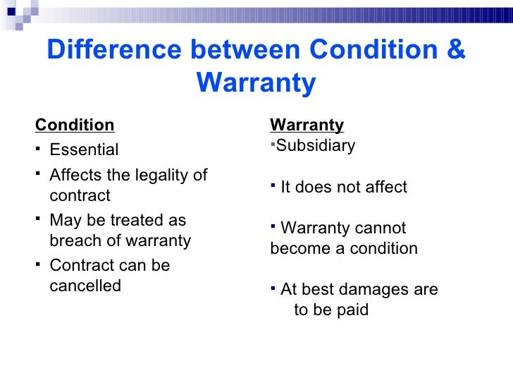 condition and warranty in contract law