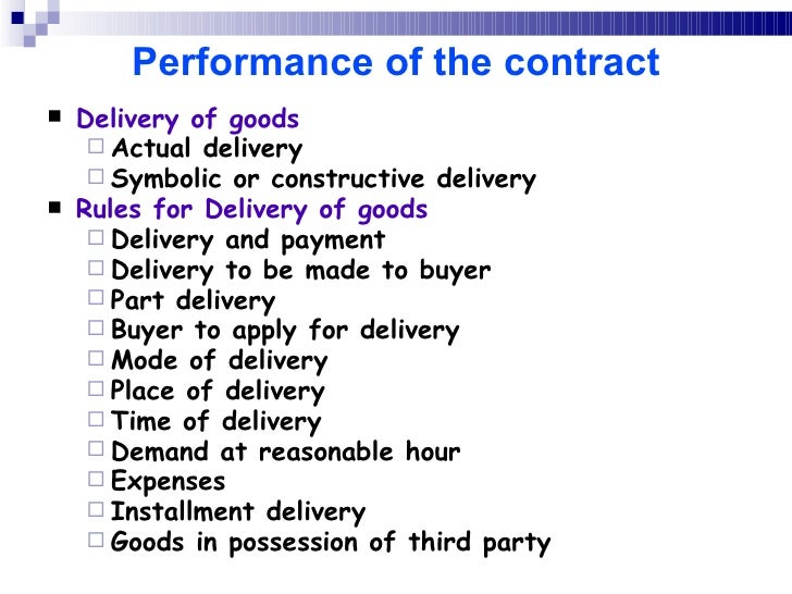 Sale of goods act – Sample Sale of Goods Contract