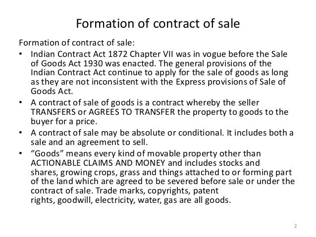 Sale of goods act 1930 – Sample Sale of Goods Contract