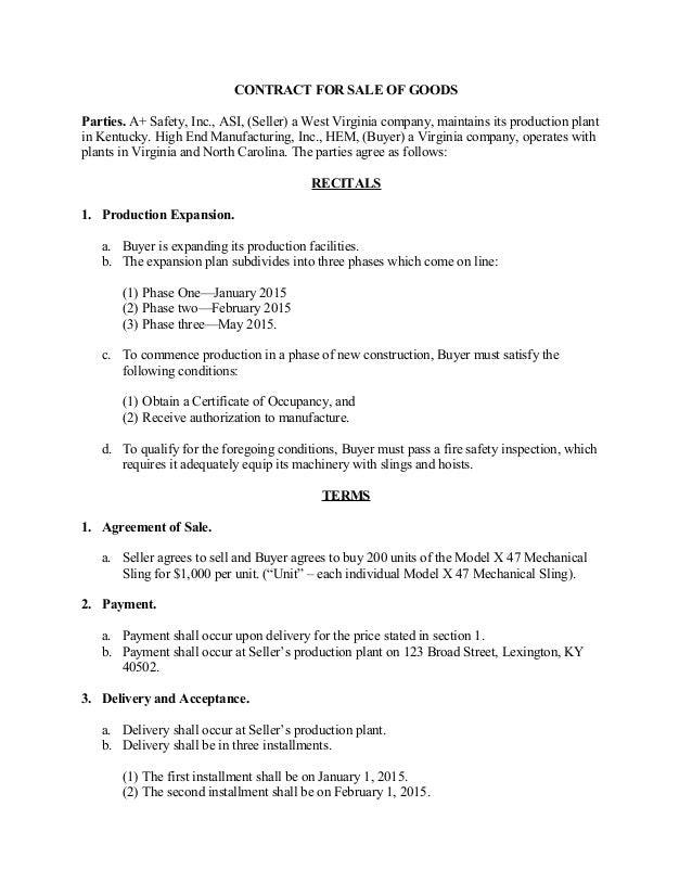 Sale of goods contract for Sale of goods agreement template