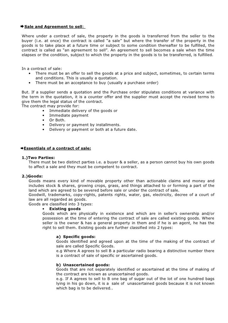 Sale of goods notes for Sale of goods agreement template