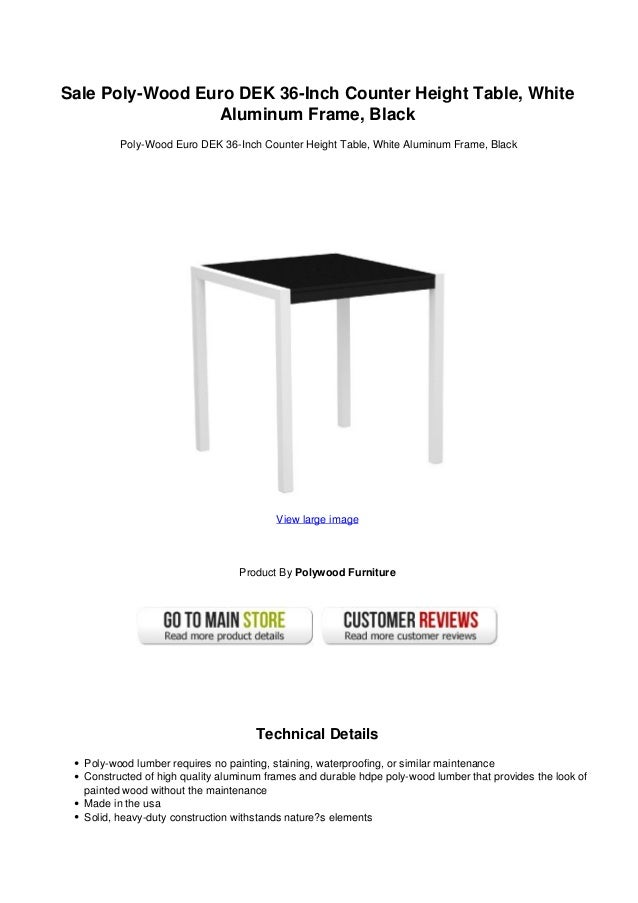 Sale Poly Wood Euro DEK 36 Inch Counter Height Table, WhiteAluminum Frame,  ...