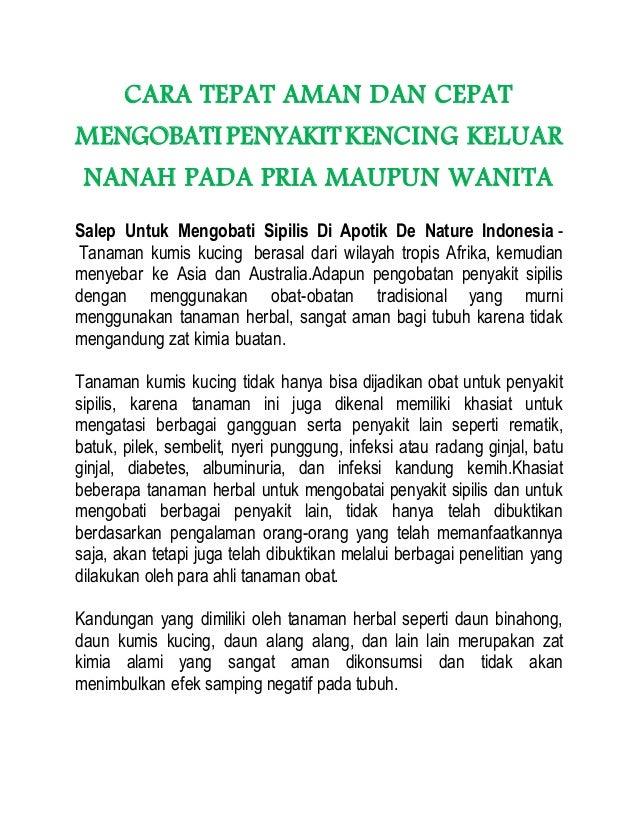 CARA TEPAT AMAN DAN CEPAT MENGOBATI PENYAKITKENCING KELUAR NANAH PADA PRIA MAUPUN WANITA Salep Untuk Mengobati Sipilis Di ...
