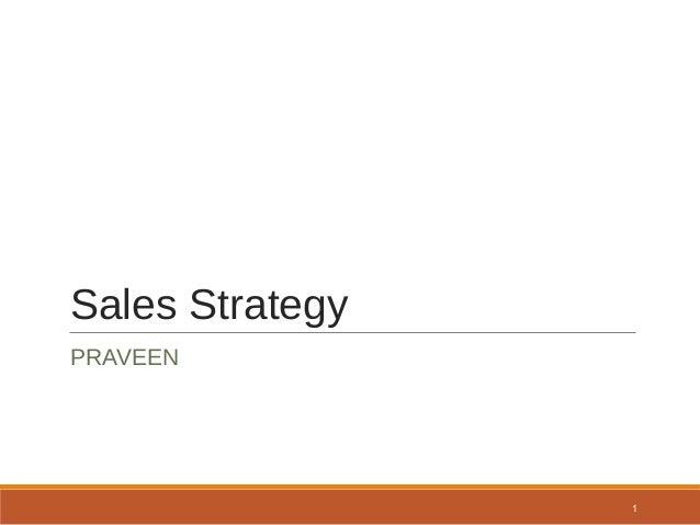 Sales Strategy PRAVEEN 1