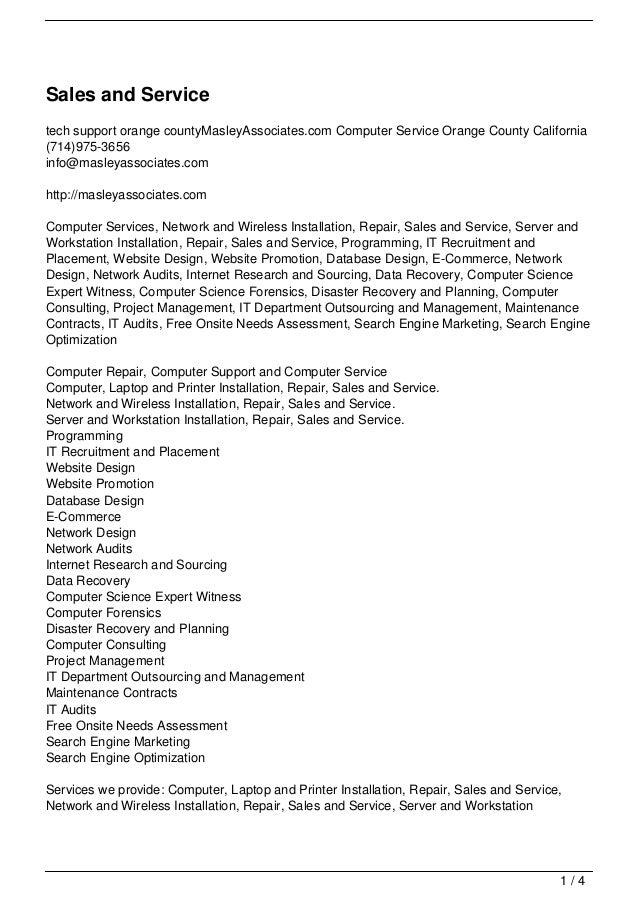 Sales and Servicetech support orange countyMasleyAssociates.com Computer Service Orange County California(714)975-3656info...