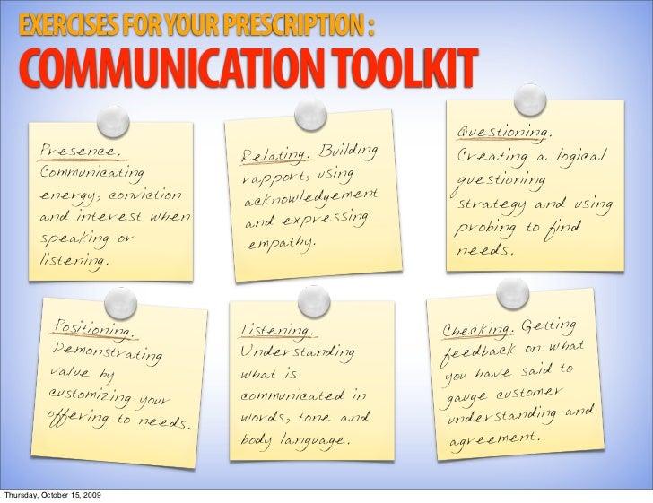 EXERCISES FOR YOUR PRESCRIPTION :    COMMUNICATION TOOLKIT                                                          Questi...