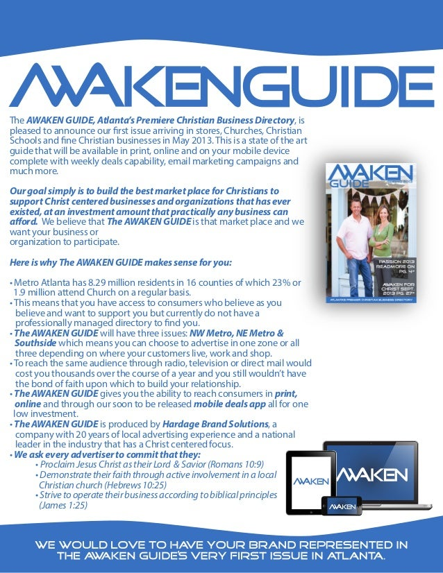 The AWAKEN GUIDE, Atlanta's Premiere Christian Business Directory, ispleased to announce our first issue arriving in store...