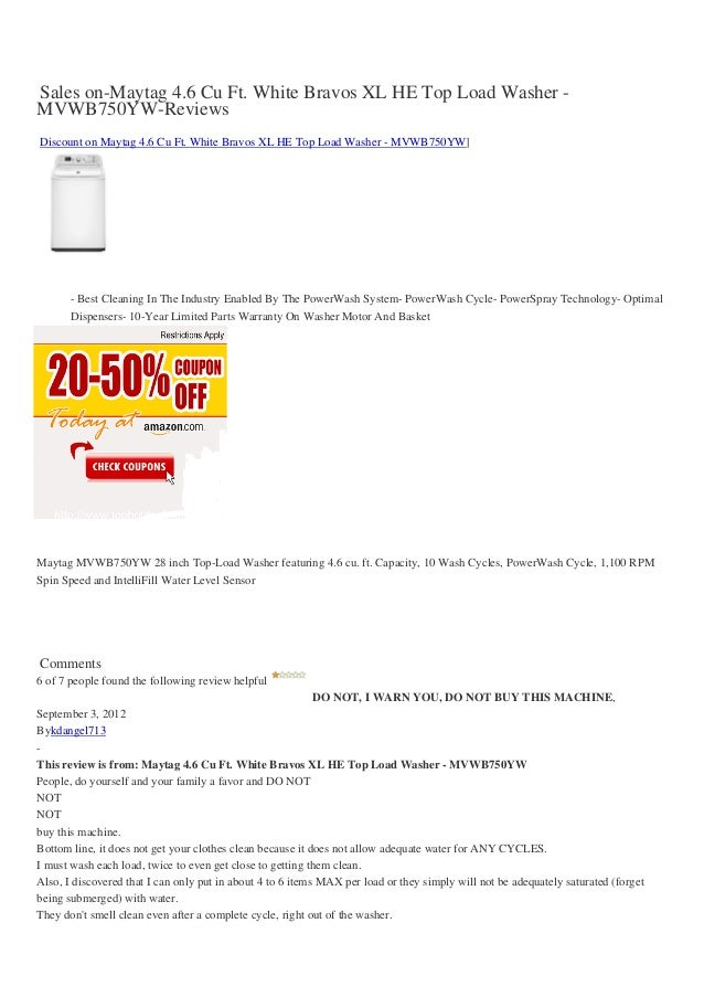 Sales on-Maytag 4.6 Cu Ft. White Bravos XL HE Top Load Washer -MVWB750YW-ReviewsDiscount on Maytag 4.6 Cu Ft. White Bravos...