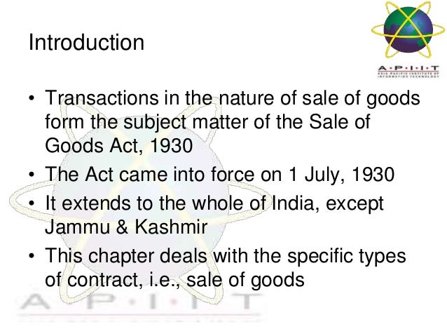 Sale of Goods Act- gives Essay