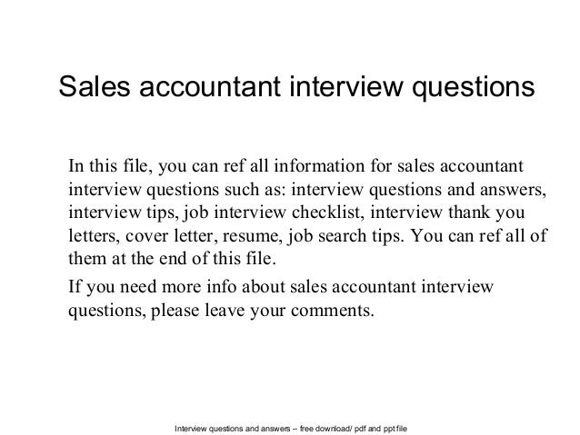 Sales accountant interview questions