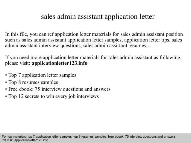 Sales Admin Assistant Application Letter