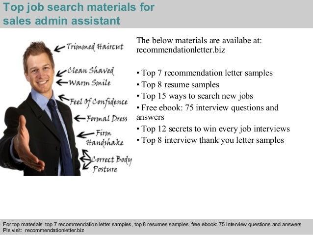 Sales admin assistant recommendation letter