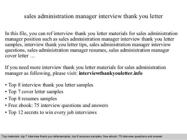 Sales Administration Manager Interview Thank You Letter In This File, You  Can Ref Interview Thank ...