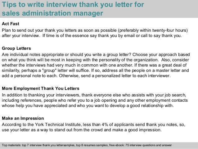 3 tips to write interview thank you letter for sales administration manager - Sample Resume Of Sales Administration Manager