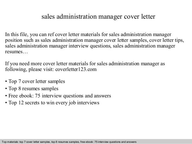 Sales administration manager cover letter