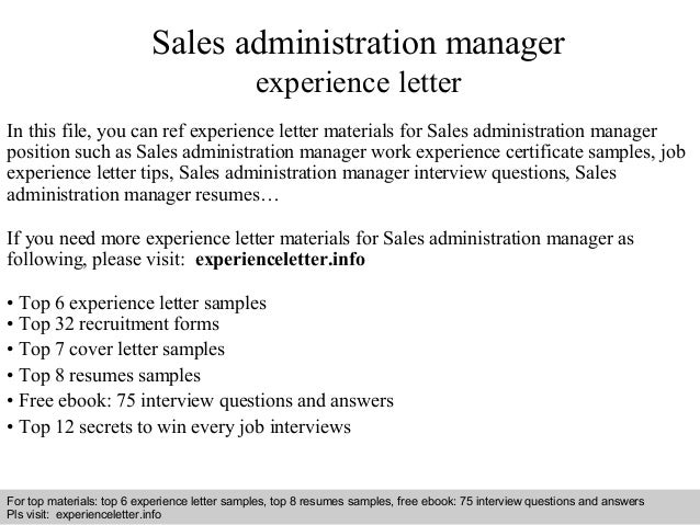 Sales Administration Manager Experience Letter