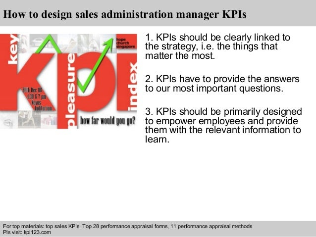 Sales administration manager kpis