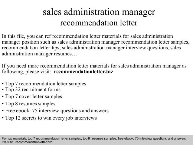 Sales administration manager recommendation letter