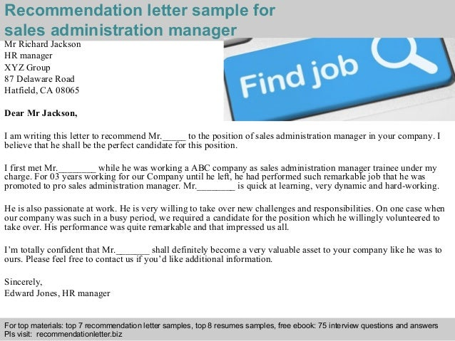 2 recommendation letter sample for sales administration manager - Sample Resume Of Sales Administration Manager