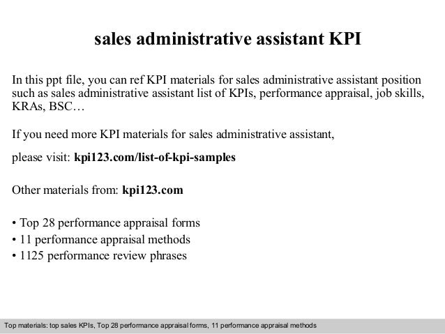 Sales Administrative Assistant Kpi