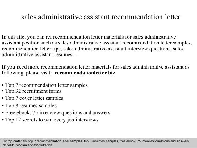 Sales Administrative Assistant Recommendation Letter