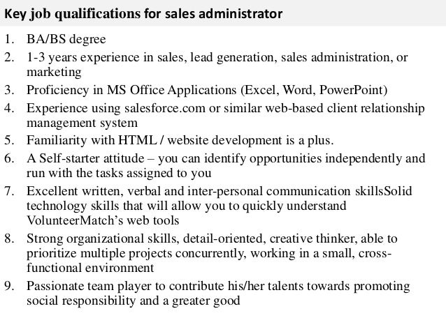 Sales administrator job description