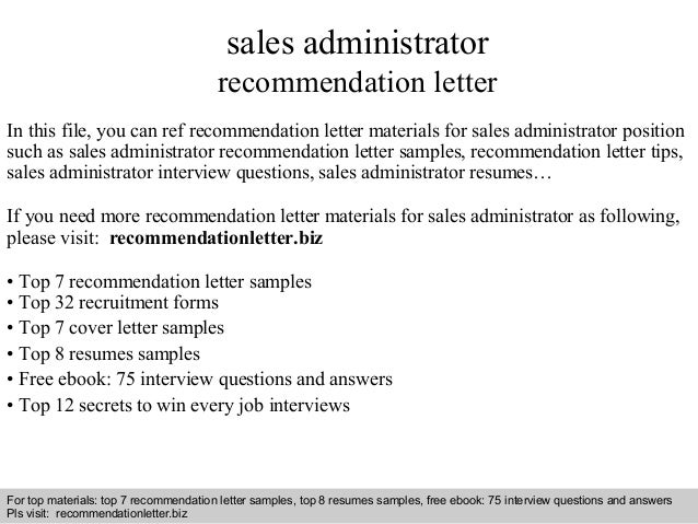 Sales administrator recommendation letter