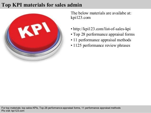 Sales admin kpis