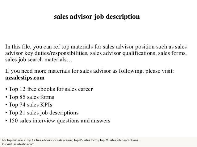 sales advisor job description