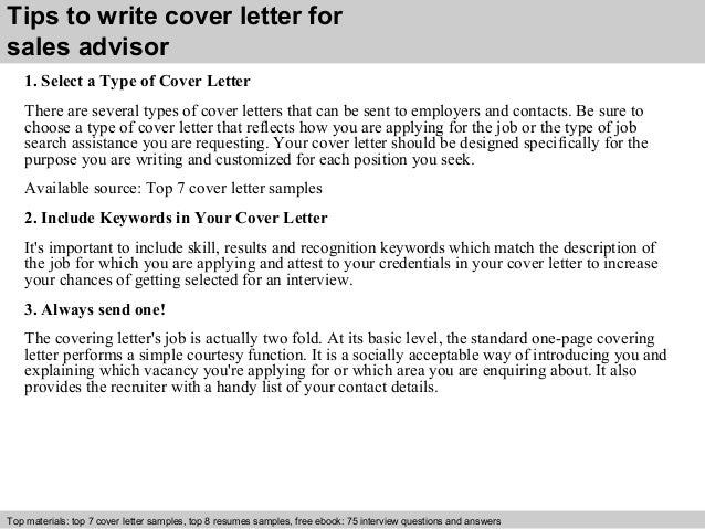 Sales advisor cover letter