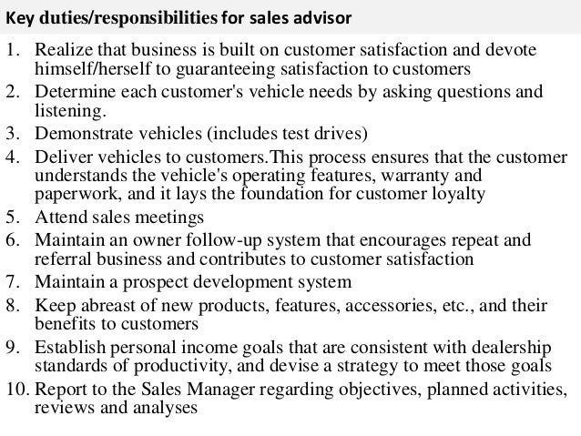 Sales advisor job description