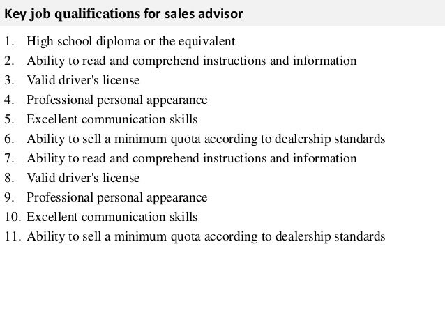 Job Role Of A Sales Assistant - Template