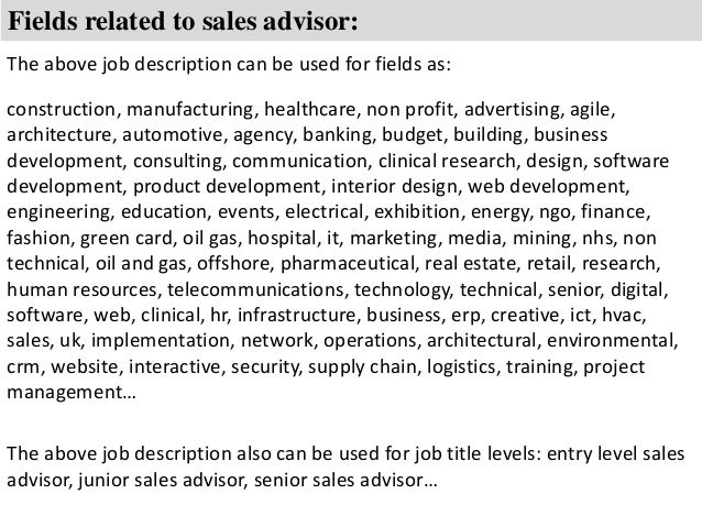 job description of a sales assistant